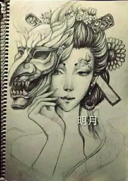 艺妓包小臂纹身_包小臂鲤鱼纹身_花旦包小臂纹身手稿图片