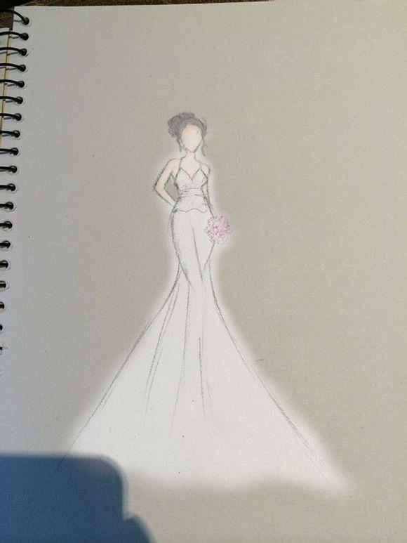 手绘婚纱结合美图秀秀上色
