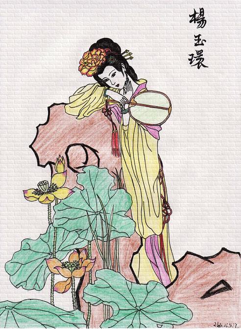 古装贴图 *【自画】彩铅画手绘之古装美女图