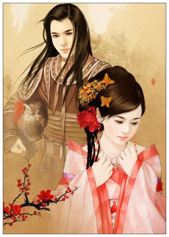 唯美手绘古装情侣古装美女图雅雯手绘古装情侣图小说 竖