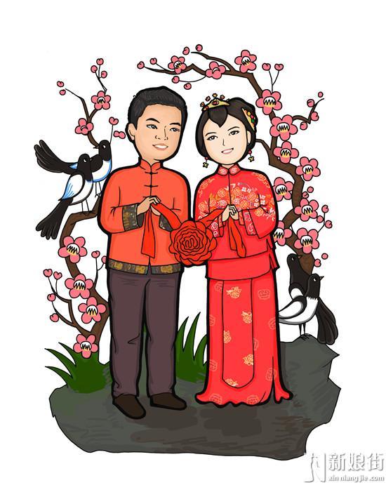 古典中式婚礼中的q版漫画图片