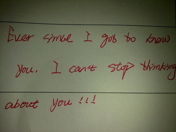 晒前女友写给我的一句话图片
