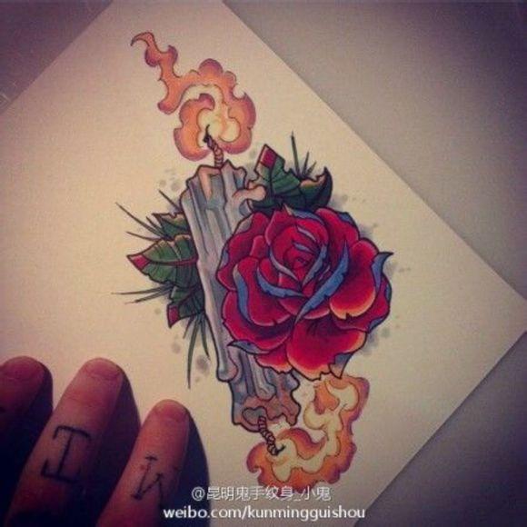 school玫瑰手稿图片