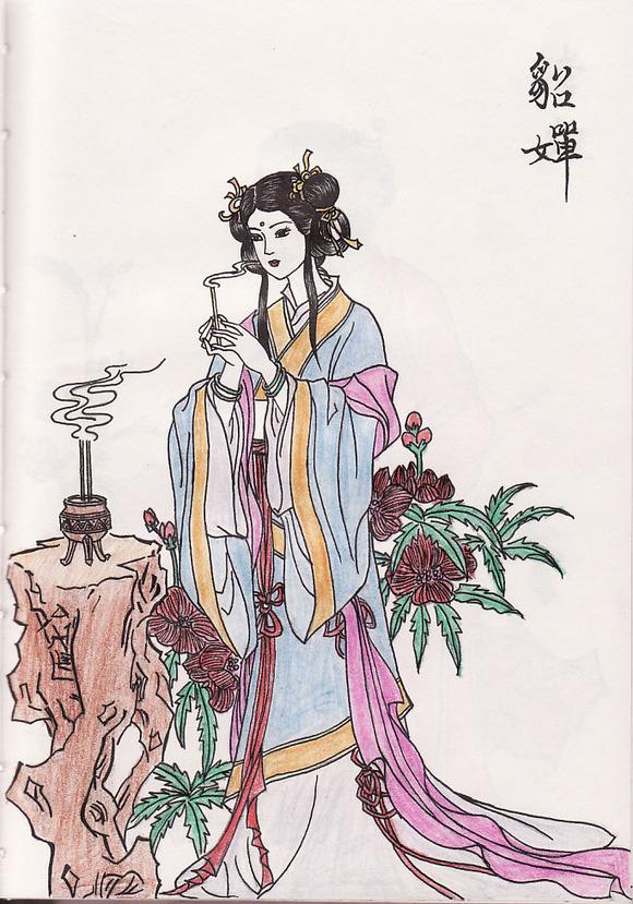 *【自画】彩铅画手绘之古装美女图图片