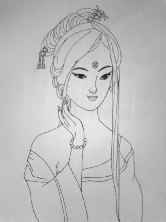 古装贴图 *【铅笔画】彩铅古装美女图片