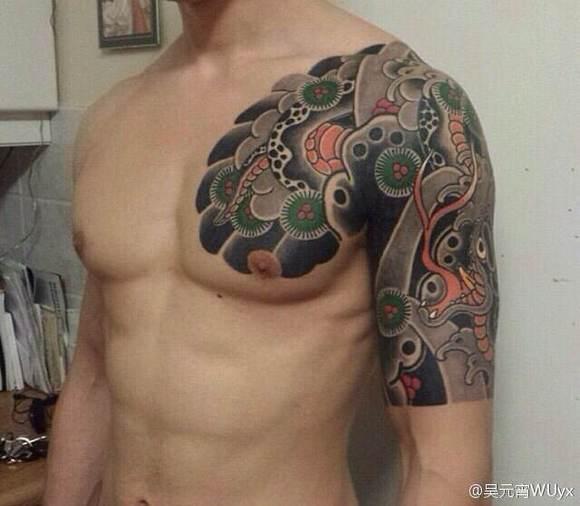 传统半甲 全甲 日式_纹身吧图片