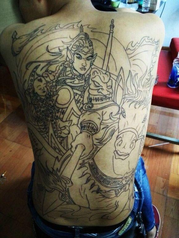 赵子龙线条纹身 般若纹身线条手稿 二郎神纹身线条图片