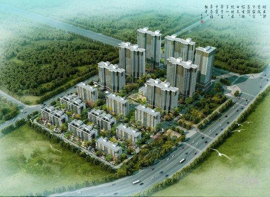 高层和高层住宅产品,项目斥巨资筑造新中式园林景观体系,并配高清图片
