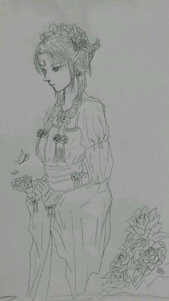 【手绘】新人手绘古装美女图片