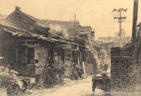 况晗的宽线条铅笔画:30年前的北京烟袋斜街-关于吴秀波和我的闺蜜