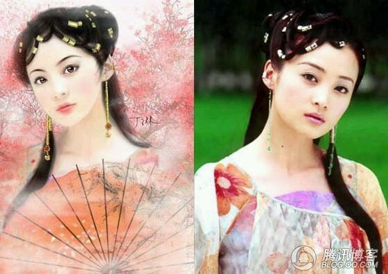 【画中人】美女明星古装手绘图图片