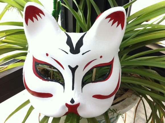 手绘和风狐狸面具~~~~~~_cos买卖吧_百度獭∩图片