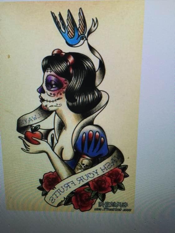 前些天的白雪公主上色了~_纹身吧_百度贴吧图片