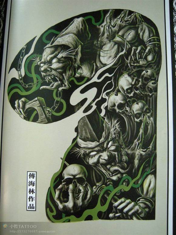 个性经典的黑白无常半甲纹身手稿图片
