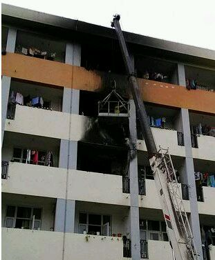 日照大学城一女生宿舍着火