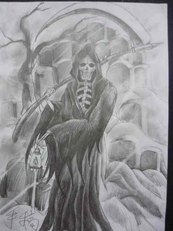 的死神纹身手稿图片