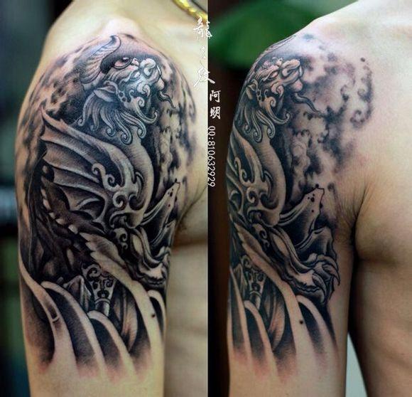 招财貔貅纹身 作品   大臂彩色 貔貅纹身 图片   艺刺青-大臂高清图片