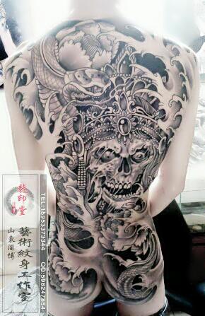 后背纹身图案 赵子龙 地区 纹身 清墨纹身 背部赵云图片 高清图片