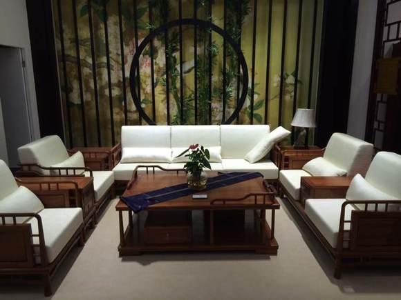 缅甸花梨现代中式布艺沙发图片