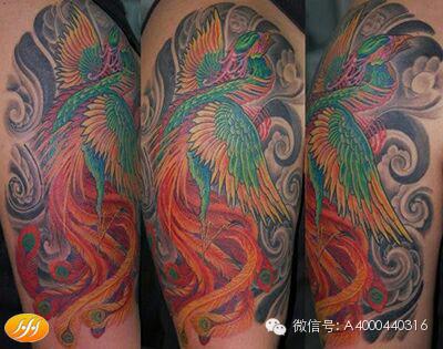 像上面晒出来的凤凰朱雀纹身图案真的很难进行区分,尤其是带着火焰图片