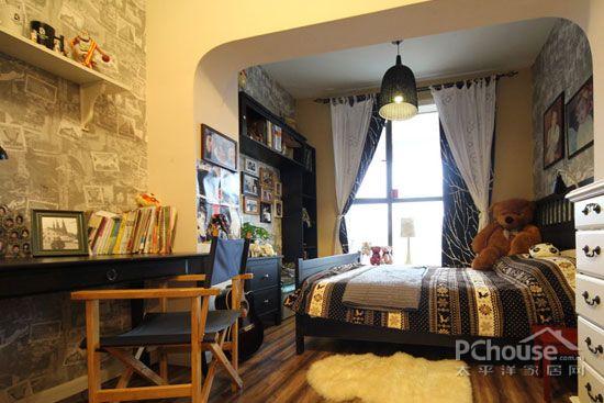 菲莫斯:样板间壁纸搭配效果图-美式乡村风格卧室装饰图片