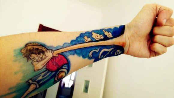 【手绘】海贼王彩绘纹身图片