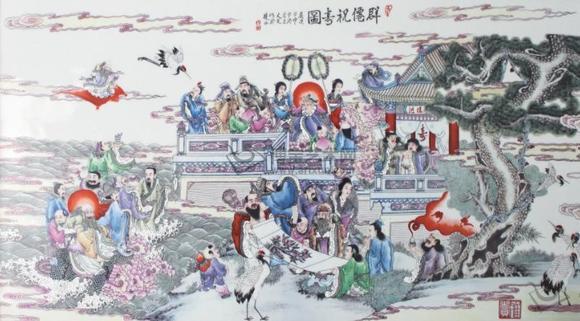 王凡群仙祝寿图瓷板画求鉴定求分析!