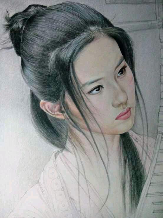 我也来一发!彩铅手绘古典美女