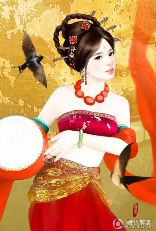 手绘古装女子雅雯手绘手绘古代女子手绘古装女子侍寝 竖