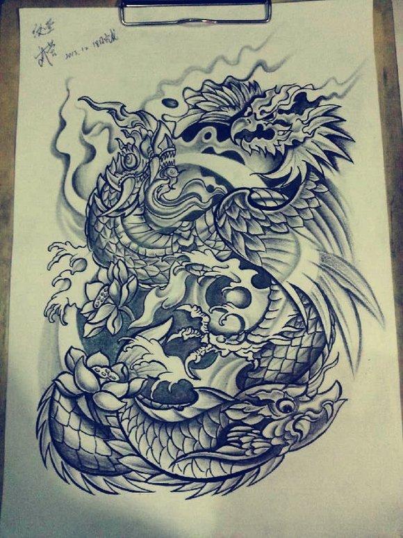 鱼化龙纹身手稿图片