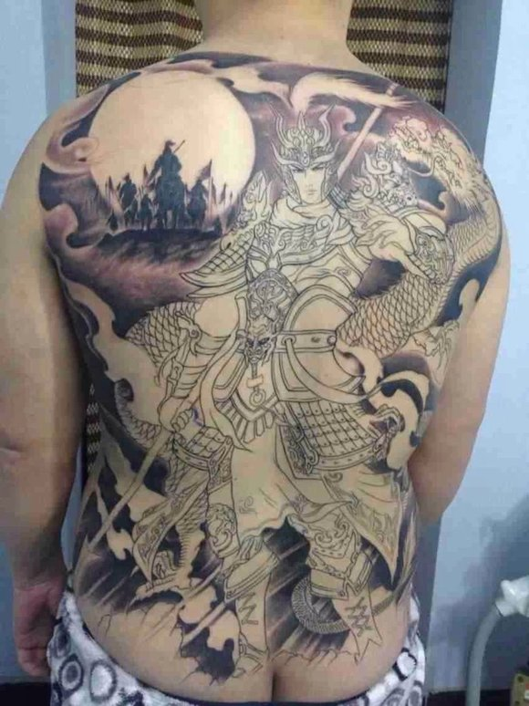 赵云半甲纹身图案欣赏下图片   三国人物纹身图案赵云赵子龙高清图片