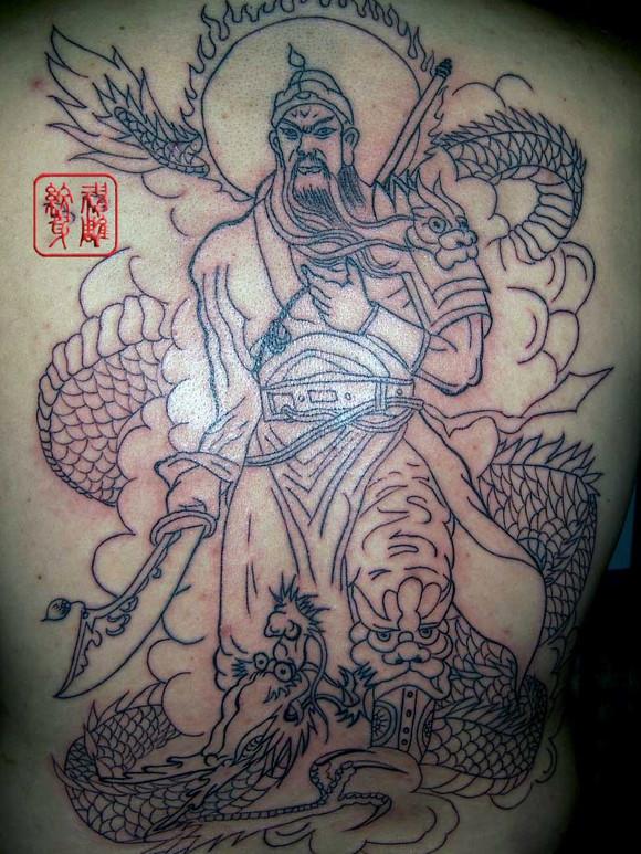 关公降龙纹身说法,禁忌图片