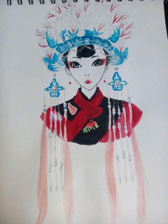 【画画】.古代动漫女(水粉)图片