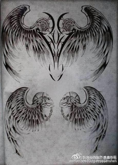 【翅膀纹身手稿分享】图片