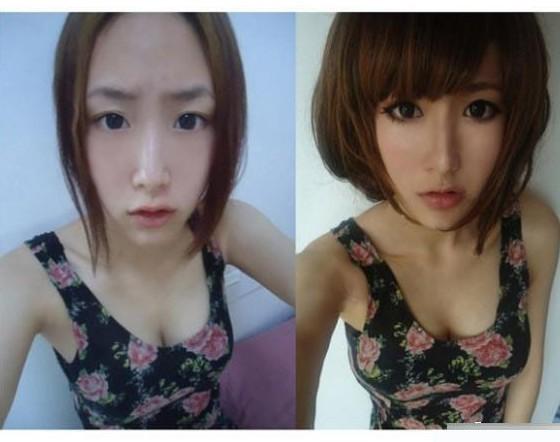 【网络美女】 美女卸妆前后对比图