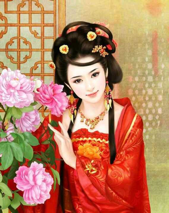 手绘红衣古装美女图片 手绘红衣古装美女图片画法