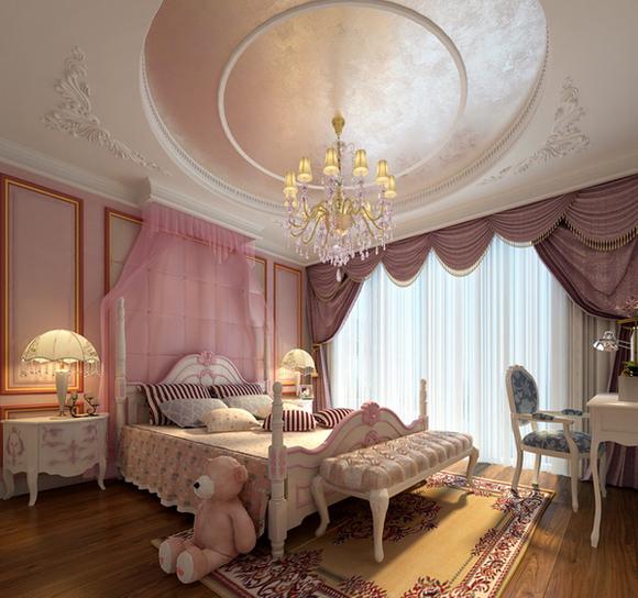 粉红床幔是甜蜜的欧式公主房图片