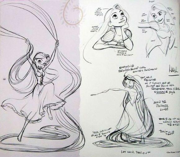 卡通长发公主简笔画