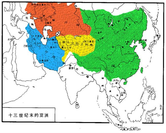 1300年的蒙古帝国(元朝和四大汗国)和图片