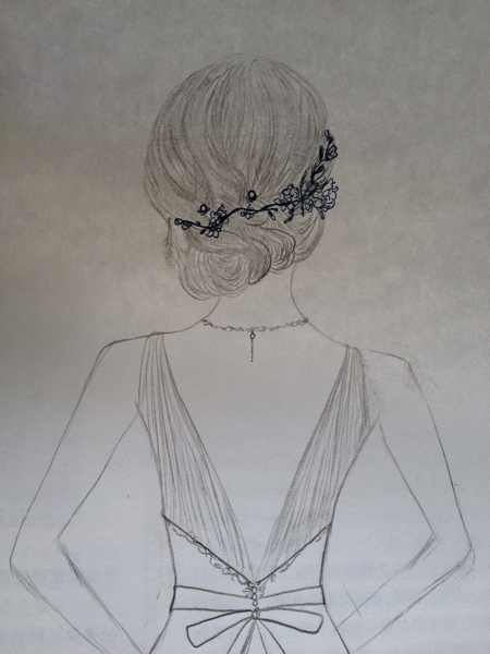 婚纱女孩背影素描画图片