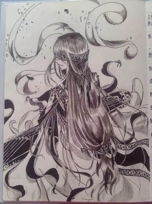 「书香海韵」古风手绘线稿图片