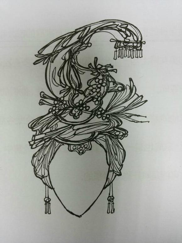 手绘古代女子头饰图片