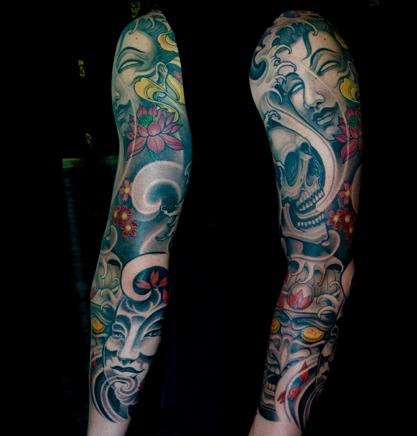 半甲花臂纹身图片图片
