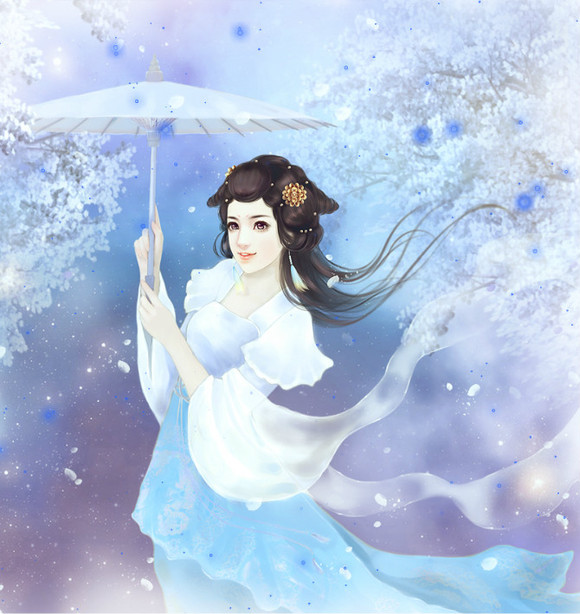 ┇收集拿伞手绘古装美女图图片