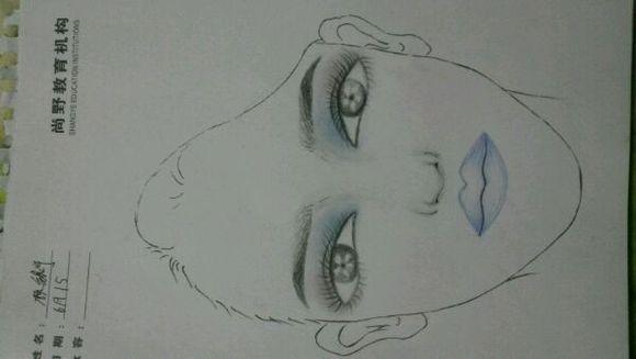 化妆美人图素描图片 化妆师纸上美人图 美人图素描妆面图片 化妆美人图片