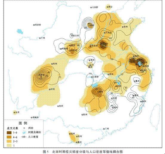 图4显示,北宋时期形成了长三角,开封府两个一级疫灾中心,京兆府(西安图片