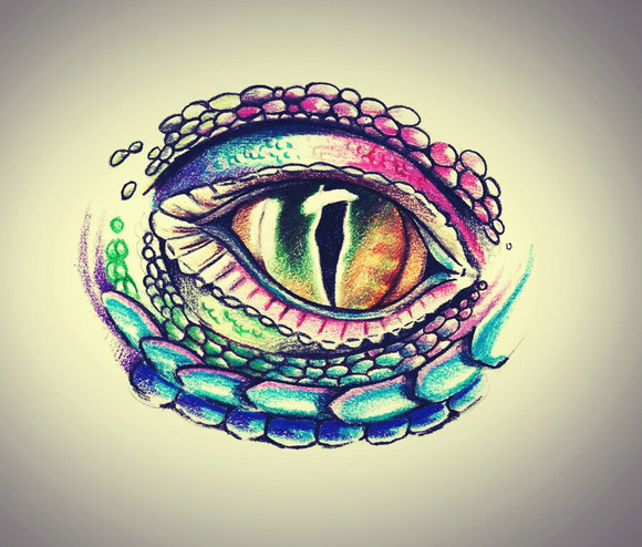 眼球纹身手稿 彩色蝴蝶眼睛刺青图案图片