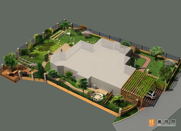 这是一张豪华别墅四周的庭院绿化设计图片