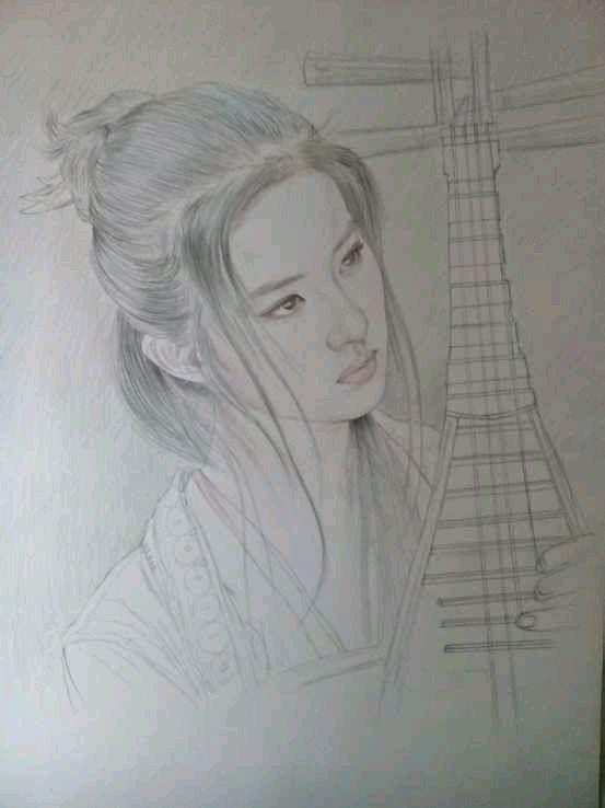 彩铅手绘古典美女图片
