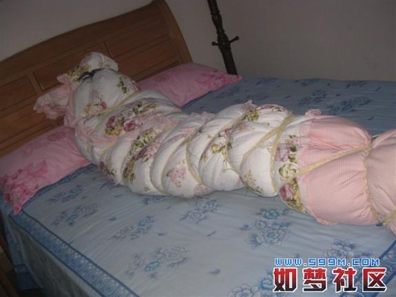 棉被捆绑被子捆绑棉被包裹木乃伊图棉被包裹